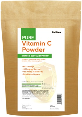 Picture of 250g packet of Vitamin C powder as ascorbic acid